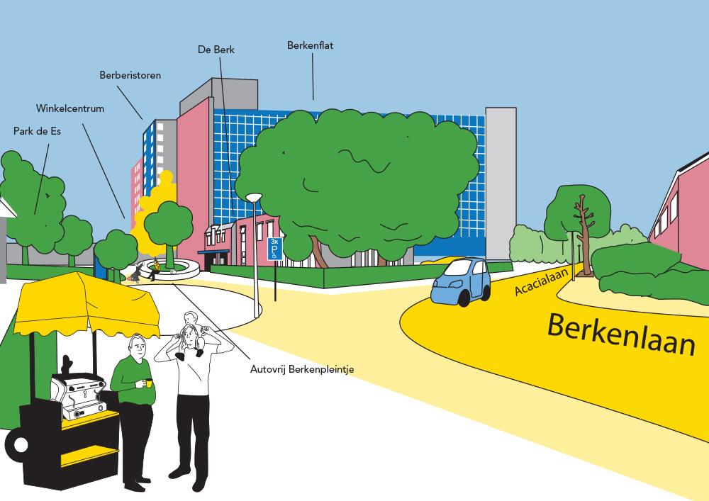 Het nieuwe Berkenpleintje gezien vanaf de Berkenlaan.